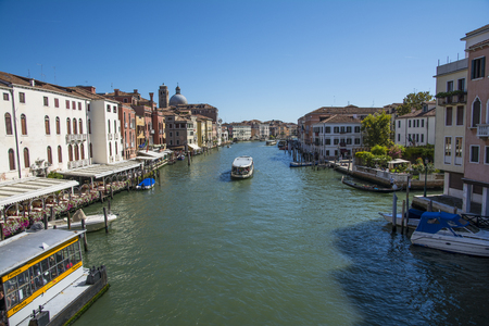 rialto bridge: Venice,Italy-August 12,2014:view of the grand canal from the Rialto bridge during a sunny day.