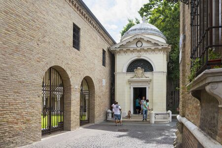 ravenna: Ravenna,Italy-august 21,2015:people visit the Dantes tomb in Ravenna during a sunny day.