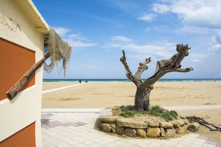 Rimini,Italy-April 17,2015:view of the beach in Rimini-Italy-during a sunny day