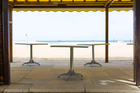Rimini,Italy-April 17,2015:view of bar on the beach in Rimini-Italy-during a sunny day