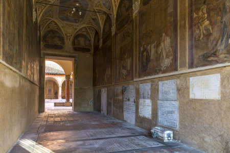 Bologna,Italy-december 12,2016:Old tomb   inside the monumental cemetery of the Certosa di Bologna during a sunny day. Editorial