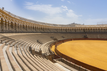 Seville, Spain-august 7,2017view of the inside of the Plaza de toros de la Real Maestranza de Caballera de Sevilla in Spain.