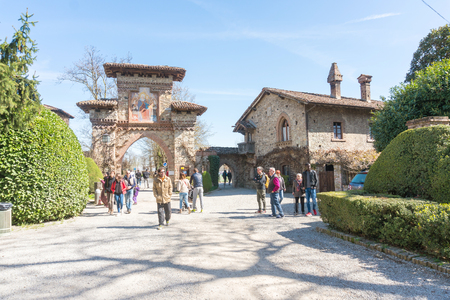 Piacenza,Italy-April 2,2018:Historical village in Grazzano Visconti,neo-gothic village near Piacenza, Italy during a sunny day Editorial