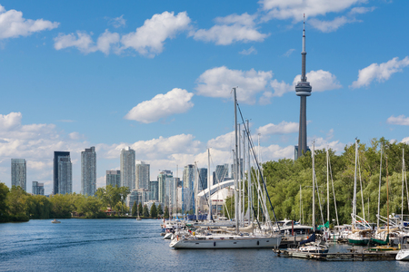 Toronto,Canada-august 3,2015:the famous Toronto skyline view from the Toronto islands during a sunny day.