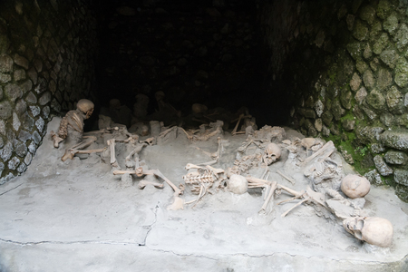 Ercolano, Italy- March 26, 2016:Remains of people killed by the volcano in Herculaneum. Sajtókép