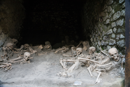 Ercolano, Italy- March 26, 2016:Remains of people killed by the volcano in Herculaneum. Editorial