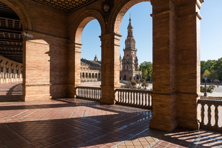 Seville,Spain-august 8,2017:particular of the famous plaza de Espana in Seville during a sunny day Editorial