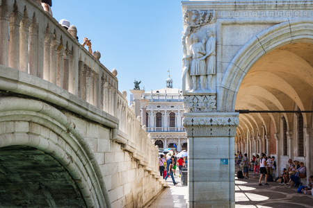 Venice,Italy -August 17,2014:Tourists visiting Venice during a sunny day. Editorial