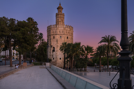 Seville,Spain-august 8,2017:viwe of the Gold tower in Seville during a sunset Editorial