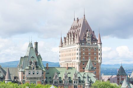 Quebec City, Canada - August 6, 2015:View of    the famouse Frontenac castle in Quebec City during a cloudy morning.