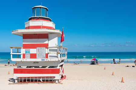 Miami,USA-march 15,2018:one of the famous and colorful beach guard cabins on Miami beach during a sunny day