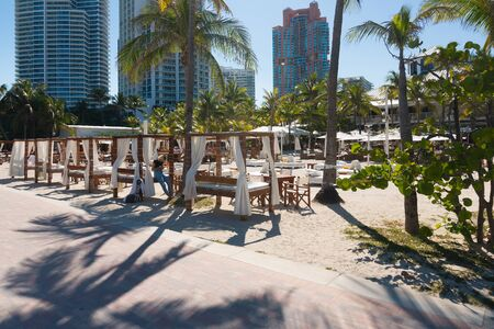 Miami,USA-march 15,2018:one of the many beachside venues found in Miami beach on a sunny day