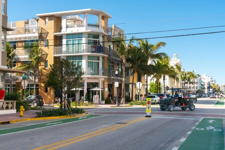 Miami,USA-march 15,2018:strolling through the famous Ocean drive in Miami during a sunny day