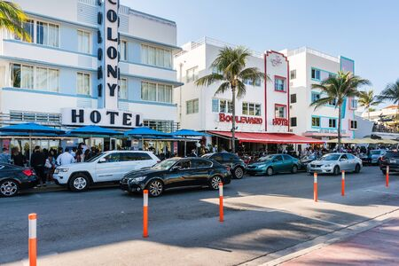 Miami,USA-march 15,2018:walking among the buildings on the famous Ocean drive in Miami during a sunny day