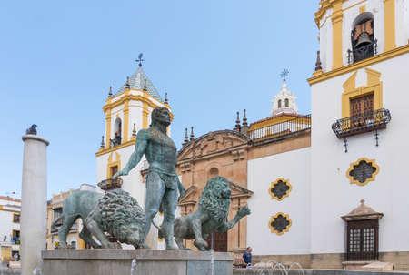 Ronda,Spain-august 10, 2017:view of the parish of Nuestra Senora del socorro in socorro square in Ronda during a sunny day. 新闻类图片