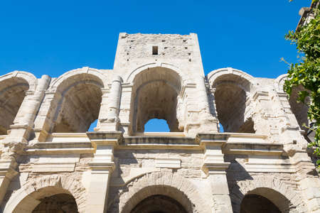 Arles,France-august 14,2016:detail of some arches of the famous arena of Arles during a sunny day