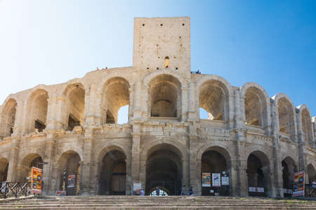 Arles,France-august 14,2016:view of the famous arena of Arles during a sunny day