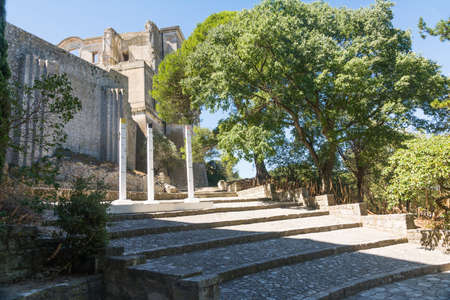 Montmajour,France-august 14,2016:The Abbey of St. Peter in Montmajour is a  large fortified monastery near Arles, France built by Benedictine monks