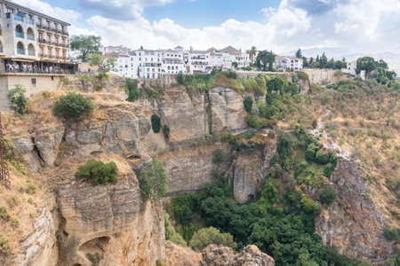 Ronda,Spain-august 10, 2017:view of the Ronda from the panoramic observation point of Ronda during a cloudy day 新闻类图片