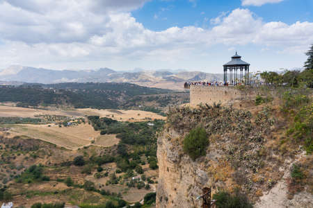 Ronda,Spain-august 10, 2017:view of the tourist on the panoramic observation point of Ronda during a cloudy day 新闻类图片