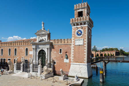 Venice, Italy -August 17,2014: View of the famous arsenal of Venice during a sunny day