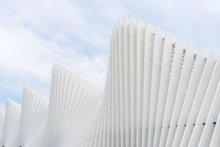 Detail of the high-speed railway station created by the famous architect Santiago Calatrava in Reggio Emilia-Italy during a cloudy day 新闻类图片