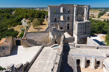 Montmajour, France-august 14,2016: The Abbey of St. Peter in Montmajour is a large fortified monastery near Arles, France built by Benedictine monks Redactioneel