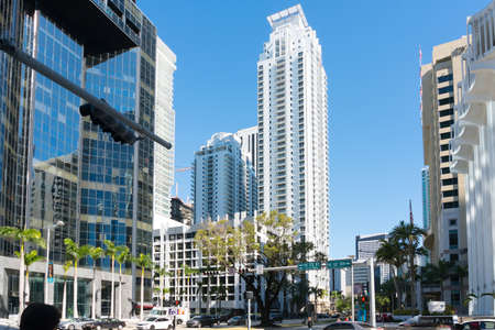 Miami, USA-March 16,2018: walking among the skyscrapers in downtown Miami during a sunny day.