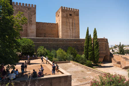 Granada, Spain-august 12, 2017: people visit the famous Alhambra in Granada during a sunny day.