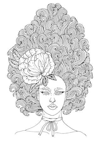 Vector drawn portrait of a fairy girls with curly high hairstyle, developing hair up decorated with peony flower. Forest fantasy character. Coloring page. Design card, print on t-shirt on white back. Çizim