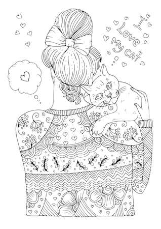 Vector drawn girl in a patterned sweater stands with her back. Woman holds and hugging pet. Graphic design Pattern page for coloring book A4 size I love my cat. The owner and pet are cuddling together 向量圖像