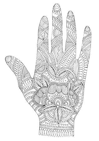 Vector drawn tattooed arm with a flower and weave patterns. Ornamental decorated graphic illustration yoga hand. Design card, print on t-shirt. Pattern Coloring page, mehndi decoration hand