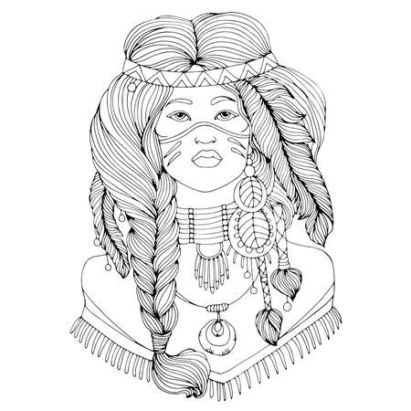Vector drawn portrait Native American Indian woman in national headdress. Ethnic tribal girl with braided feathers in long hair. Wild spirit of the West.