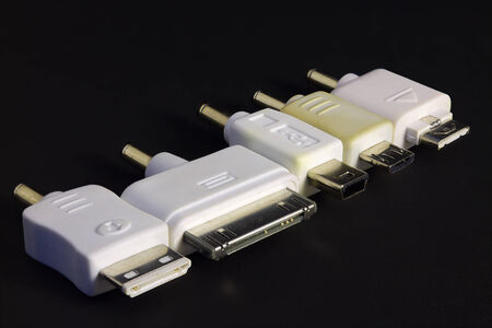 converter: Five types of converter plug connector adapter in side-by-side formation Stock Photo