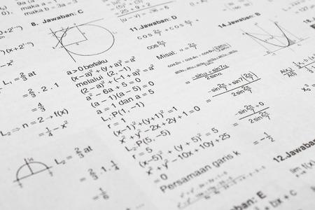 Printed paper full of math equation symbols photo