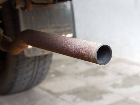 muffler: Tail of standard cars exhaust muffler pipe Stock Photo