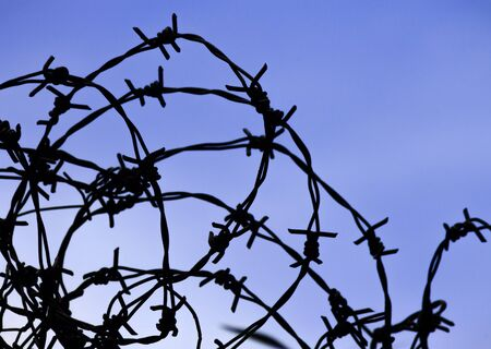 disarrangement: Silhouette of barbed wire against blue sky on background.
