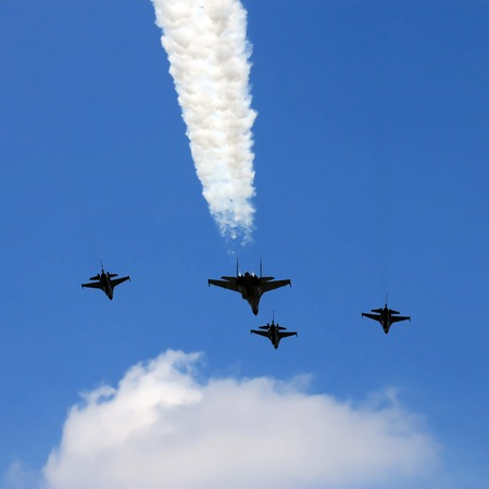 turbojet: Low altitude flypass formation of Indonesian Air force fighter jets. Stock Photo