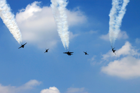 Low altitude flypass formation of Indonesian Air force fighter jets. Stock Photo