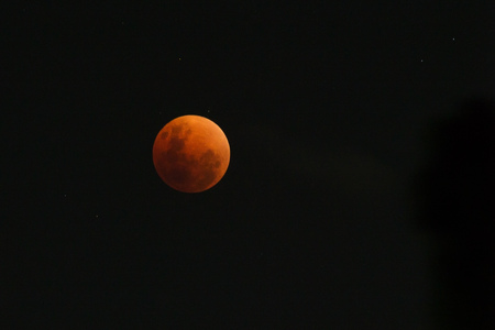 Moon view in the peak (umbra) of period of rare lunar eclipse phenomena which named Super Blue Blood Moon. The moon surface was fully covered by the earth shadow.