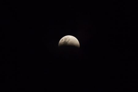 Moon view in the beginning (penumbra) of period of rare lunar eclipse phenomena which named Super Blue Blood Moon. The moon surface was half covered by the earth shadow.