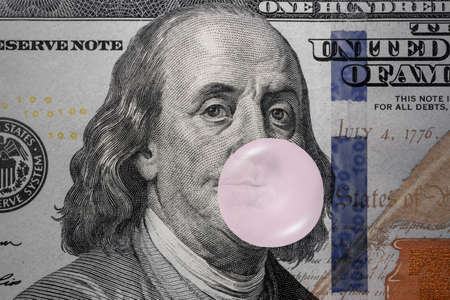 The value of the US Dollar: Benjamin Franklin blowing bubblegum, Ideas for US stock market bubble, Stockmarket overvalued, Economic bubbles, Financial panic or crisis, Monetary liquidity