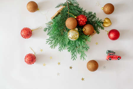Christmas footage made of new year decorations and fir branches on a white background