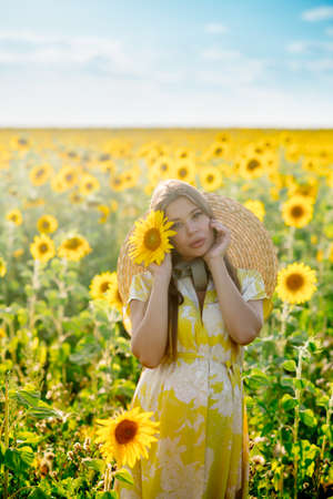 Beautiful caucasian pregnant woman walking in the summer at sunset in a field of blooming sunflower
