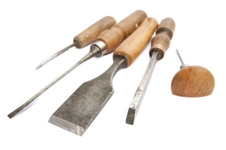vintage wood chisels on white background Stock Photo