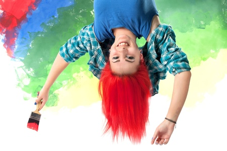 smiling girl with bright red hair