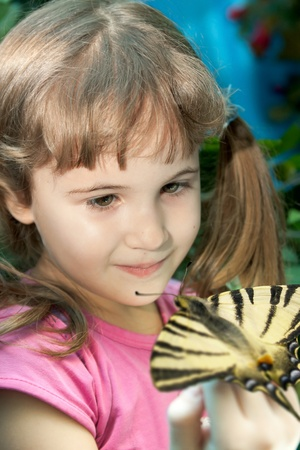 little girl with a big bright butterfly on her hand Stock Photo