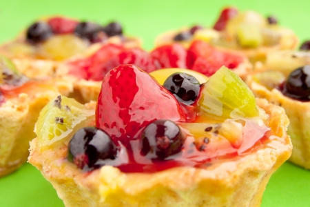 Close-up of a tart with different fruits and berries in jelly Stock Photo