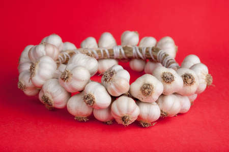 Ukrainian traditional garlic round on a bright red background Stock Photo