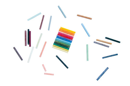 oil pastels isolated on a white background Stock Photo